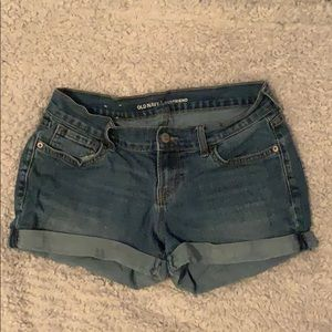 dark/medium wash, old navy boyfriend jean shorts